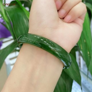 CYNSFJA New Real Rare Certified Natural Hetian Jade Jasper Nephrite Lucky Amulets Jade Bangle 53-62 Green High Quality Best Gift