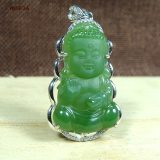CYNSFJA Real Rare Certified Natural Hetian Jade Jasper 925 Sterling Silver Lucky Amulets Buddha Green Jade Pendant Best Gifts