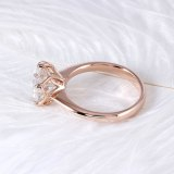 Transgems 14K Rose Gold 3ct 9mm F Color Solitaire Moissanite Engagement Ring for Women Wedding Gift Pink Gold Ladies Ring