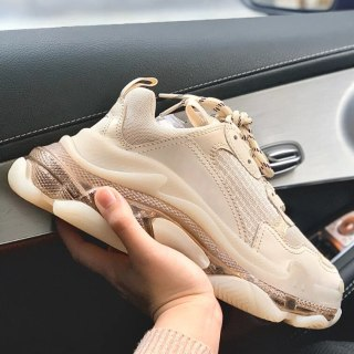 New Women's Chunky Dad Sneakers in Tan / White Hypebeast Trendy Streetwear Designer Shoes Luxury Gifts for Her 2021