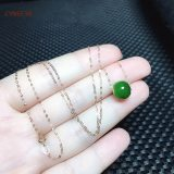 CYNSFJA Real Rare Certified Natural Hetian Jasper Nephrite Au750 Lucky Amulets Ball Green Jade 18K Gold Necklace High Quality