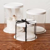 LBSISI Life 4 6 8 10 Inch Transparent Cake Box Birthday Wedding Christmas Party High Round Cake Packaging Box