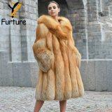 Fashion Natural Red Fox Fur Coat With Thick Fur Hoods Warm Luxury Winter Overcoat Real Fox Fur Women Long Fox Fur Skirt Coats