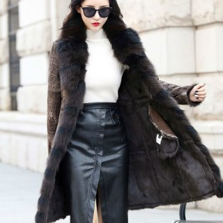 Natural Real Fur Coat Double-faced Rabbit Lining Fox Fur Collar Genuine Leather Jacket Autumn Winter Coat Women Clothes 2020
