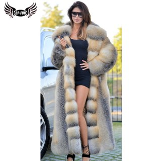 BFFUR Natural Women Fox Fur Coats Real High Quality Full Pelt Gold Island Fox Fur Coat With Big Hood Winter Warm Overcoat Luxury