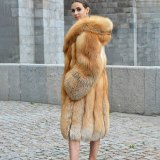 Fashion Natural Red Fox Fur Coat With Thick Fur Hoods Warm Luxury Winter Overcoat Real Fox Fur Women Long Fox Fur Skirt Coats
