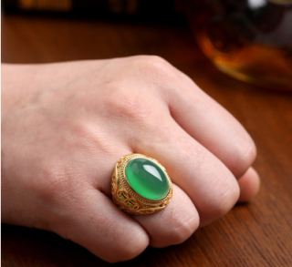 Gold Ring for Women Men Green Emerald Rings Stone Jewlery Chalcedony Adjustable Couple Rings Jade Gemstone Gifts