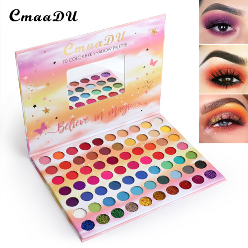 70 color matte eyeshadow sequins metallic waterproof glitter eyeshadow palette