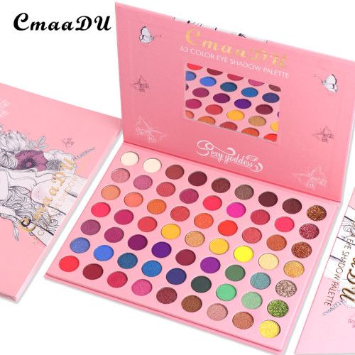 63 color matte eyeshadow glitter metallic waterproof eyeshadow palette