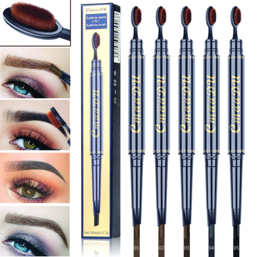 Toothbrush head eyebrow pencil waterproof double head eyebrow pencil