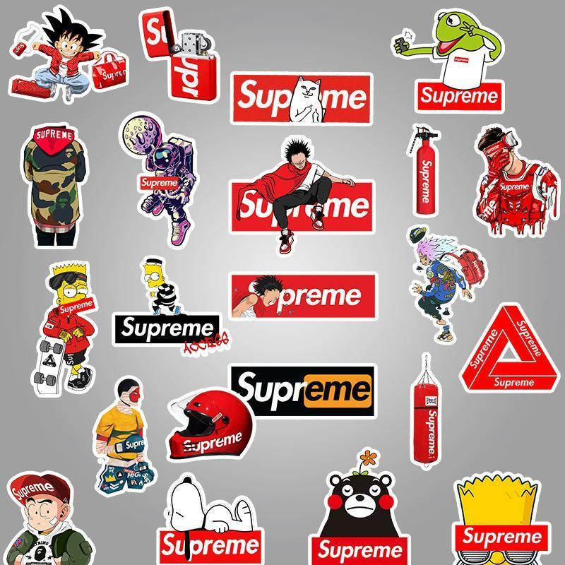 100pcs The Supreme Trendy Simpson Graffiti Stickers Cool Tide Brand Waterproof Stickers Vinyl Decals Supreme Interesting Personality Stickers for Trunk Refrigerator Skateboard Car