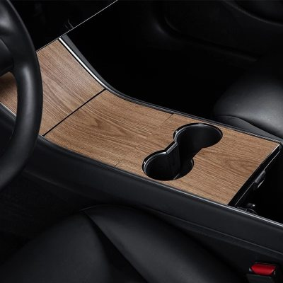 Center Console Wood Grain Cover for Model 3/Y 2017-2020