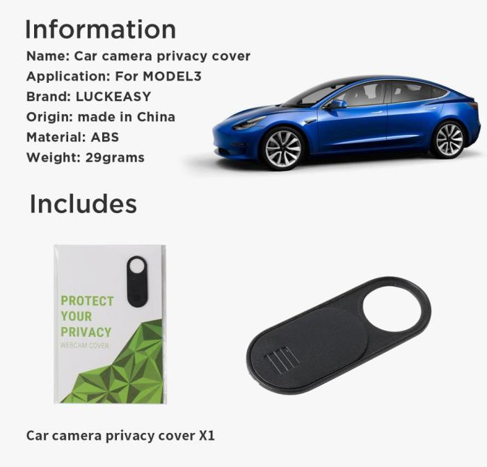 Tesla Model 3 2017-2019 Car camera privacy cover Tesla Model Y