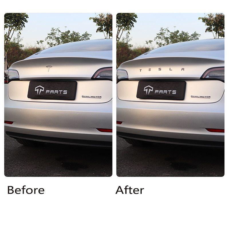 Letter Logo Sticker Carbon Fiber Tail Label For Tesla Model3/Y