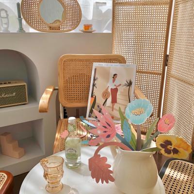 OFILLES Paper Flower Art Plant Fragrance Card Table Top Decoration