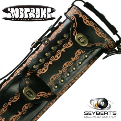 2X4 Instroke D01 Black Hand Tooled Pool Cue Case