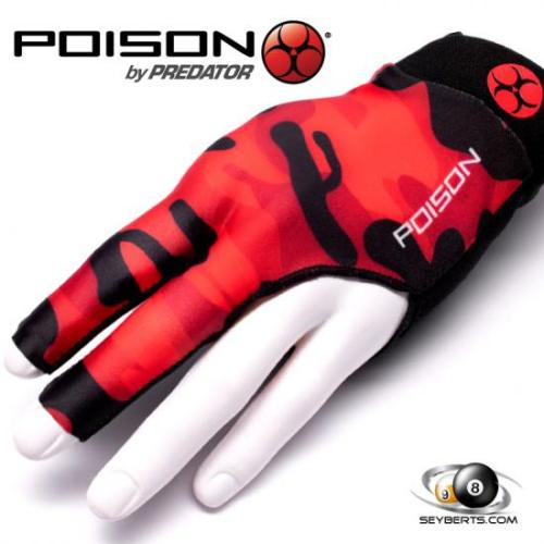 Poison Pool Cue Gloves - Camo Red