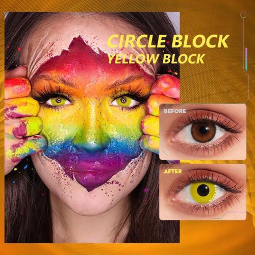 Circle Block Yellow Block  Contact Lenses