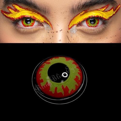 【LENSPOEM】Blood Streak Flame Eye Red Cosplay Colored Contact Lenses