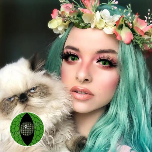 【LENSPOEM】Snake Eyes Green Halloween Contact Lenses