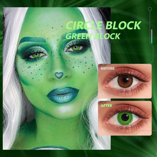 Circle Block Green Block  Contact Lenses