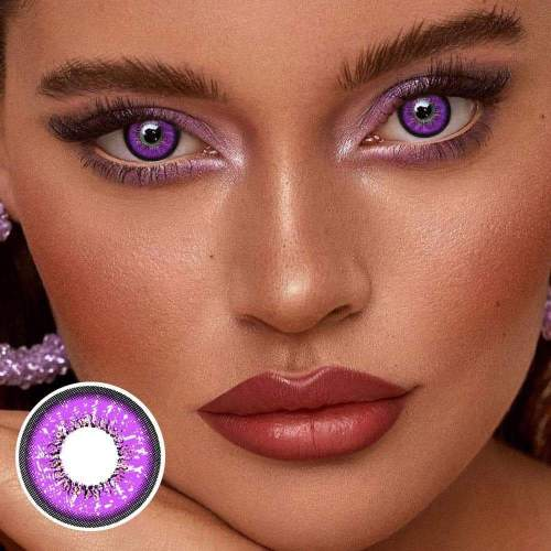 【US Warehouse】 Love Words Purple Colored Contact Lenses Yearly