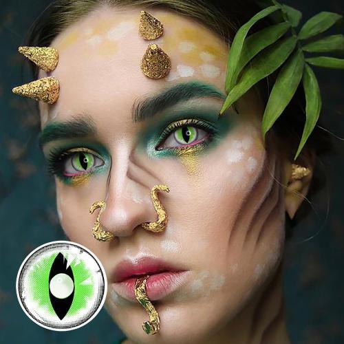 【LENSPOEM】Sexy Cat Eye Green  Halloween Contact Lenses