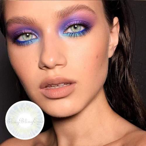 【LENSPOEM】Prescription Cherry Honolulu Blue Colored Contact Lenses