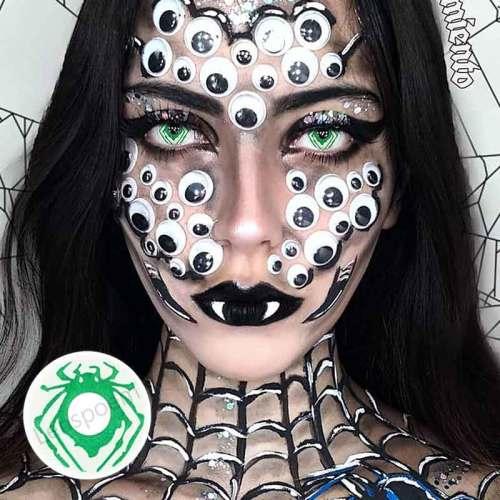 【LENSPOEM】Green Spider Crazy Contact Lenses