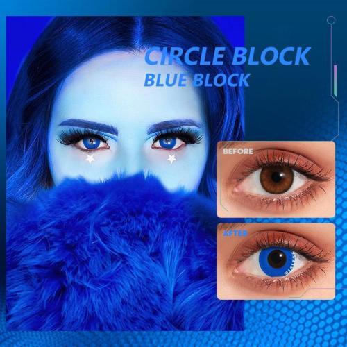 Circle Block Blue Block  Contact Lenses