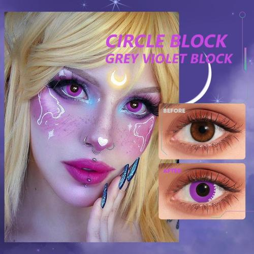 Circle Block Grey violet block  Contact Lenses
