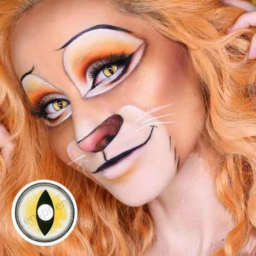 Sexy Cat Eye Yellow  Halloween Contact Lenses