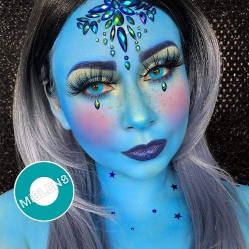 【LENSPOEM】Blue Green Block Crazy Contact Lenses