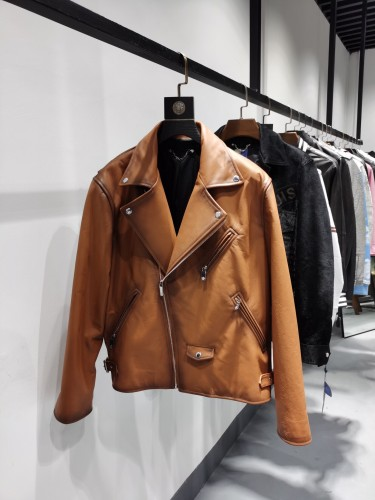 BERLUTI official website new cowhide color-changing motorcycle leather jacket