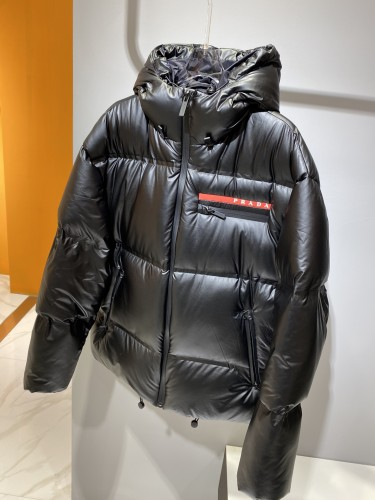 P*rada latest down jacket, matte senior nylon fabric, 90 goose down full of fluffy filling