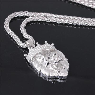 Men's Full Iced Rhinestone Crown Lion Tag necklaces pendants Hip hop Cuban Chain Hip Hop Necklace