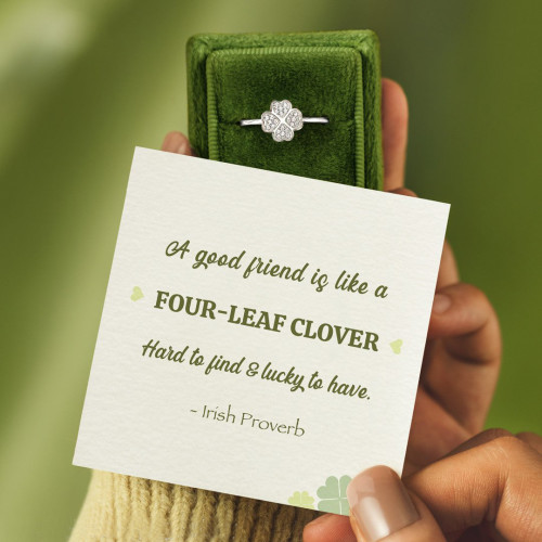 A GOOD FRIEND IS LIKE A FOUR-LEAF CLOVER RING