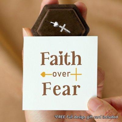 FAITH OVER FEAR CROSS & HEART RING