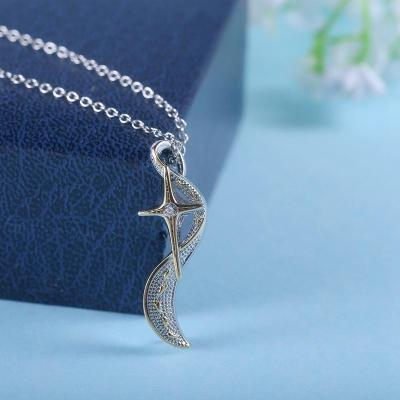 Footprints In The Sand  Cross Diamond  Necklace