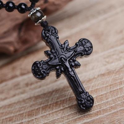 Natural Obsidian Cross Jesus Necklace