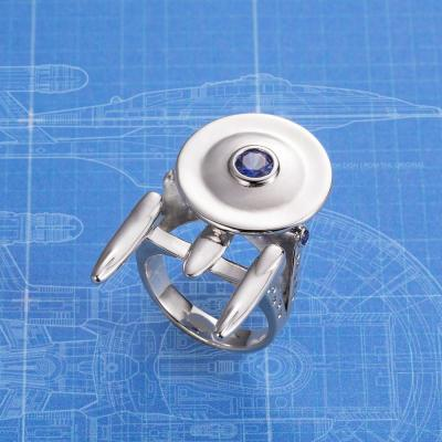 Personalized Uss Enterprise From Star Trek Ring With Birthstone