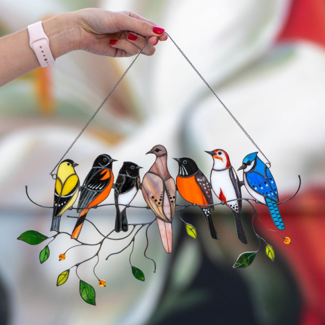Birds Stained Glass Window Hangings