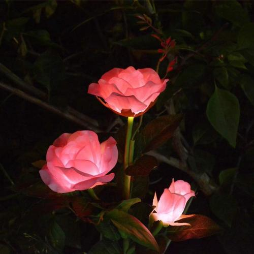 SPRING ARTIFICIAL ROSE SOLAR GARDEN STAKE LIGHTS