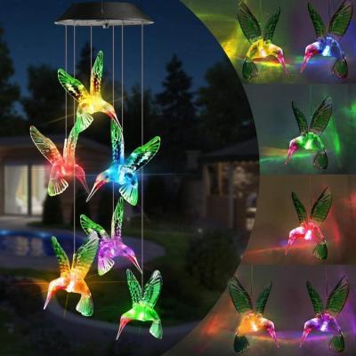 Solar-Powered Dangling Hummingbird Lights