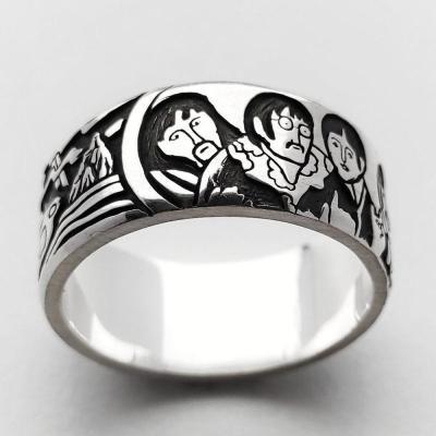 Silver ring  Beatles  wide minimalist