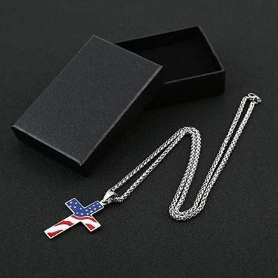 American Flag Cross Necklace