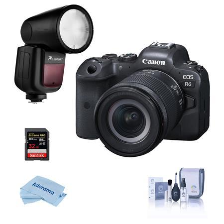 EOS R6 Mirrorless Camera with RF 24-105mm f/4-7.1 STM Lens With Flash Kit