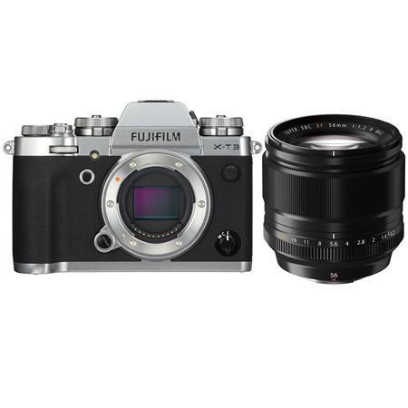 Fujifilm X-T3 Mirrorless Camera Body, Silver - With Fujifilm XF 56mm (85mm) F/1.2 Lens