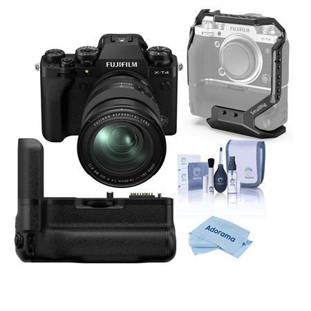 Fujifilm X-T4 Camera with XF 16-80mm f/4 R OIS WR Lens, Black W/Battery Grip Kit
