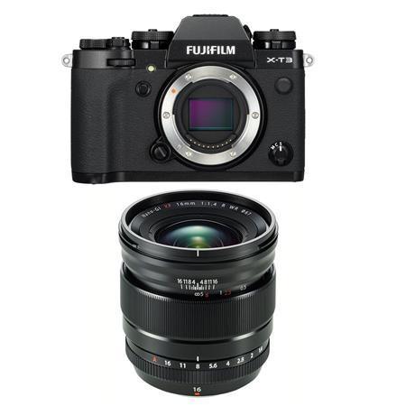 Fujifilm X-T3 Mirrorless Camera Body, Black - With Fujifilm XF 16mm F1.4 R WR Lens